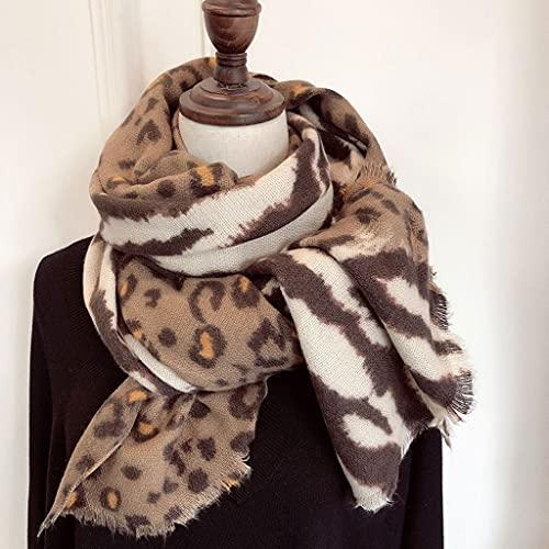 ECSWP KAIDANLE Más cálido Invierno Moda chales Regalo para Mujer Leopardo Estampado señoras Tejido Cachemir Pashmina Bufanda