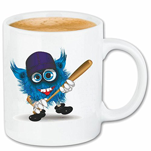 Reifen-Markt Kaffeetasse Monster MIT BASEBALLSCHLÄGER UND Basecap Base Cap Baseball Spieler Baseball BASEBALLSCHLÄGER BASEBALLSPIELER Baseballshirt Baseball Team Ke