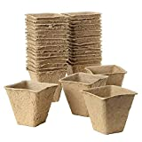 iClosam Macetas de turba – 50 bandejas de iniciación de semillas, plantas de propagación de semillas, macetas biodegradables para germinación de plántulas para jardín/vegetal/fruta/vivero/semilla