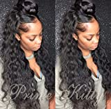 """Human Hair Wigs for Black Women 9A Virgin Brazilian Human Hair Wig with Baby Hair Curly 360 Lace Frontal Wig Human Hair Pre Plucked Body Wave 360 Full Lace Wigs Curly 360 Wigs 1B 130% Density 16"""""""