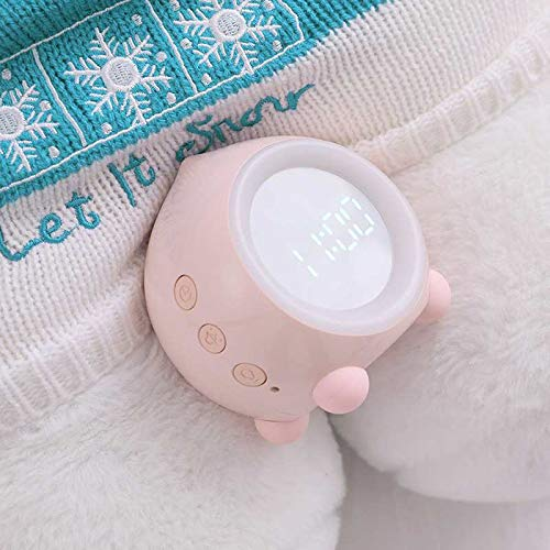 Ibello Reloj Despertador Infantil Digital Luz Nocturna Infantil Entrenamiento del sueño con 2 alarmas, 6 Tonos, 5 Volúmenes de voces, Regalo ideal para Navidad, el día de los Reyes Magos, Cumpleaños