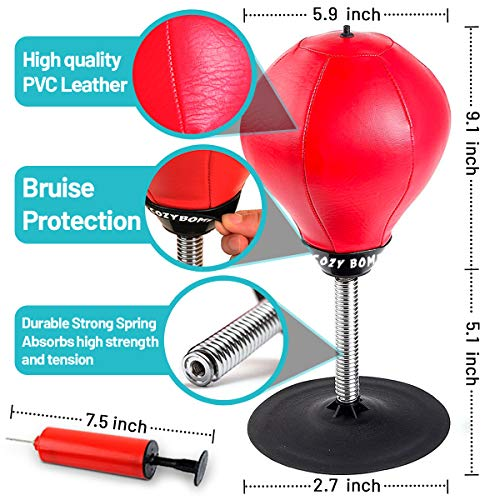CozyBomB-Free-Standing-Desktop-Punching-Bag-Stress-Buster-Relief-with-Stand-XMas-Gift-Boxing-Punch-Ball-with-Suction-Cup-to-Reflex-Strain-and-Tension-Toys-for-Boys-Father-Kids-Office-Co-Worker