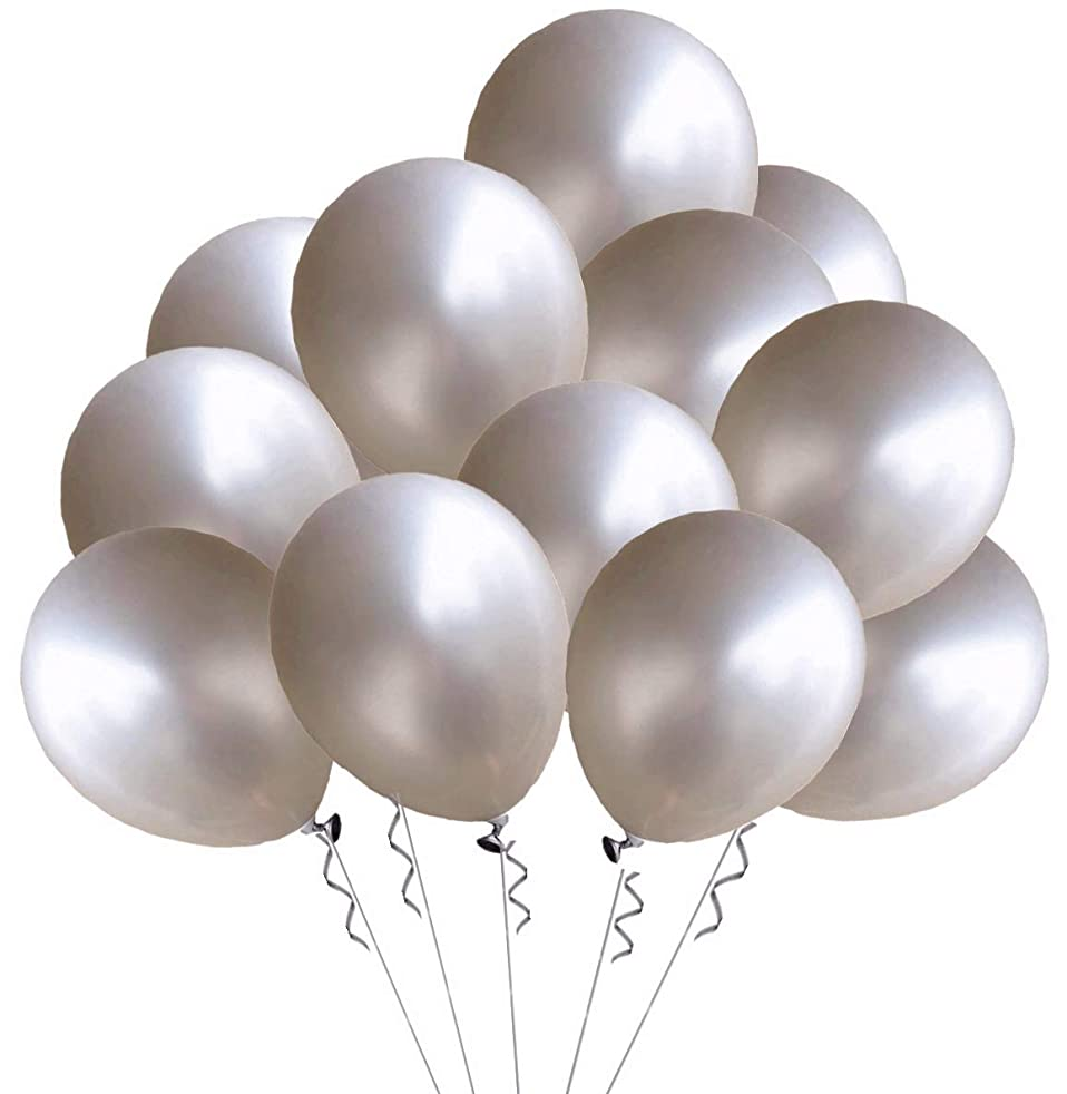 Elecrainbow 100 Pack 12 Inch 3.2 g/pc Thicken Round Metallic Pearlescent Latex Silver Balloons for Party Supplies and Decorations, Shining Silver