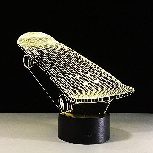 Skateboard Illusion nachtlampje, 3D LED-tafellamp, bureaulamp, 7 kleuren, USB opladen, bedlampje, slaapkamerdecoratie voor kinderen, Kerstmis, verjaardagscadeau