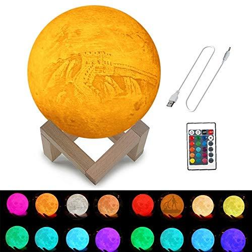 3D-nachtlampje, op maat gesneden, 16 kleuren, 3D-printer, maanlamp, USB-oplader, energiebesparende led-nachtlamp met houder en hout, diameter 15 cm, 3D-lamp Illusion O