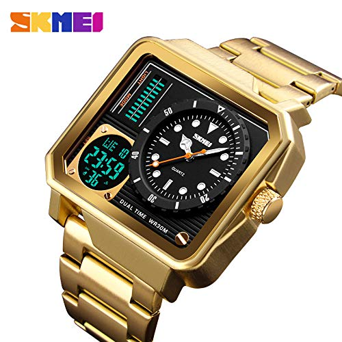 Double Movement Watch, Men ' S Square Watch Business Fashion Outdoor Sports Release Disk Waterproof Electronic Watch, Dual Time Watch,Gold