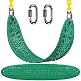 SELEWARE Swing Seat Heavy Duty with 66' Chain Plastic Coated and Carabiners, Playground Backyard Swing Set Accessories Replacement, Seat Width 27.2', 600LB Weight Limit, Green