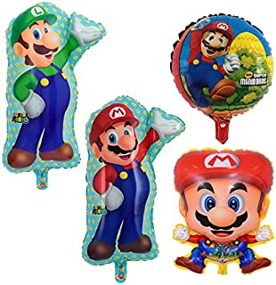 Astra Gourmet Mario Bros Foil Balloon - Set of 4 Super Brothers Foil Mylar Balloons Birthday Party Decoration