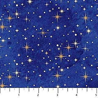 Angels Above Blue~ Gold Stars on Blue 22897M-49 Christmas Cotton Fabric by Northcott