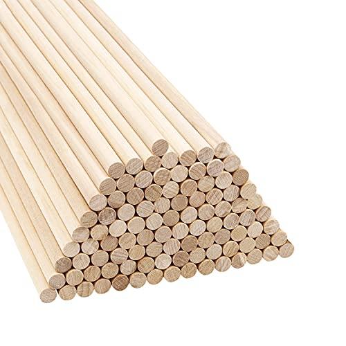 Belle Vous Naturliga Runda Träplugg Pinnar (100 Pack) – 18 cm – Extra Långa Obehandlade 9,5 mm Hantverks Träpinnar – Träpluggar för Träverk, Konstverk, Dekoration & DIY Hantverk