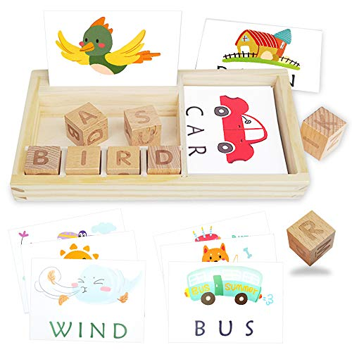 Wooden Matching Letters Game with Sight Words Flash Cards Kindergarten ABC Alphabet Blocks Spelling You See Learning Educational Montessori Puzzle Gift for Preschool Kids Boys Girls Age 3+ Years Old
