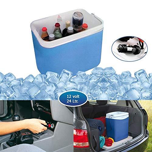 DRULINE draagbare elektrische koelbox box dranken koud voor de auto zomer inhoud 24 L 12 V stekker | L x B x H 40 x 25 x 40 cm | Wit Blauw