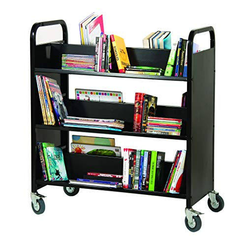 Guidecraft Heavy Duty 3-Shelf Wide Book and Media Truck - Black: School Supply Metal Utility Cart, Rolling Office and Library Storage