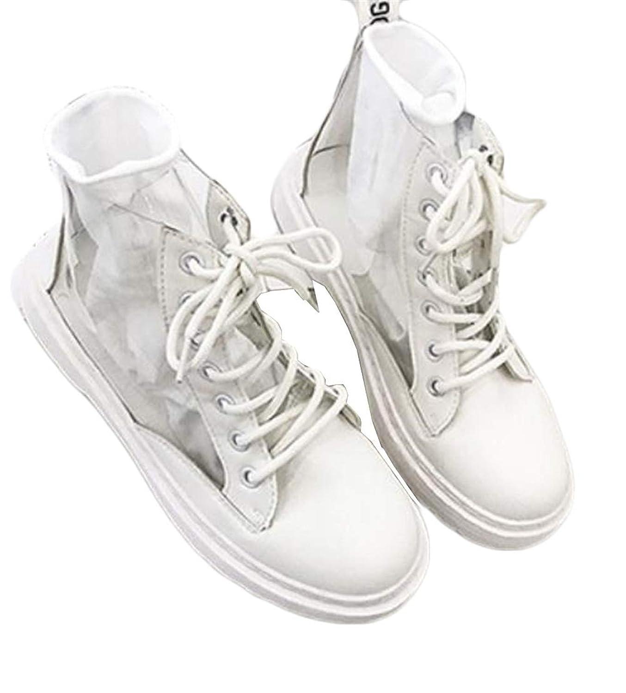 [JIANGWEI] (ジャンーウェ)PU ショートブーツ レディース ハイカット 厚底 レースアップ 透明 オシャレ 同じ色靴下付き カジュアル 歩きやすい ファッション