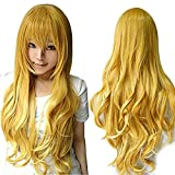 Anogol Hair+Cap Long Wavy Cosplay Wig Synthetic Wig for Girls Yellow Wavy Cosplay Wig Cosplay Costume for Halloween Party