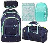 Satch Pack Pretty Confetti 5er Set Schulrucksack, Sporttasche, Schlamperbox, Heftebox & Regencape Mint