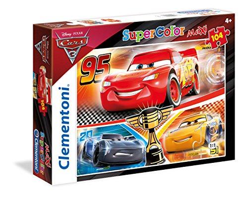 Clementoni- Cars 3 Maxi Supercolor Puzzle, Multicolore, 104 Pezzi, 23706