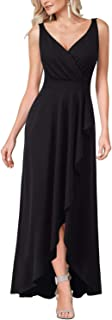 Womens V Neck Ruched Ruffle Split Formal Evening Prom Maxi Dress