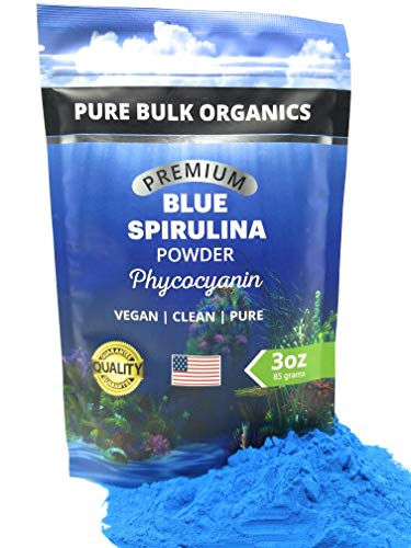 Pure Bulk Organics Blue Spirulina Powder Large 3 oz. Phycocyanin Food Coloring a Powerful Protein Antioxidant Superfood Supplement Tastes Great Makes Color Baking Fun + Immunity Support