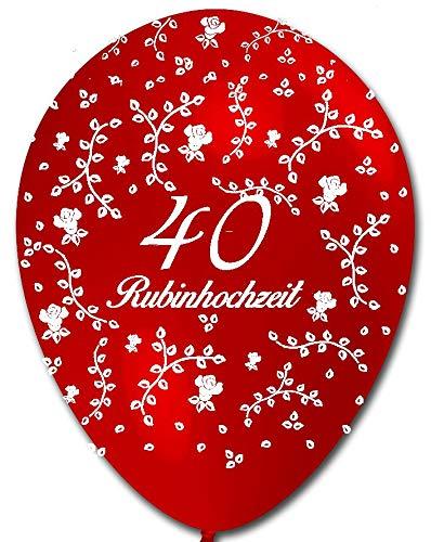 BWS-Verkauf durch Luftballonwelt 5 rote Ballons 40 Rubinhochzeit, Rosenaufdruck, ca. 30 cm Durchmesser