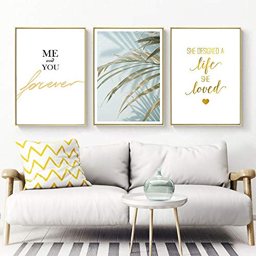 Suuyar Nordic Canvas Schilderijen Plant Poster Art Tekening Quotes Posters En Prints Poster Wall Art Leaf Picture Woonkamer-60x80cmx3pcs geen frame