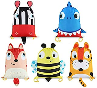 5 Animals Designs Candy Goodie Treat Bags 10 Pack Kids Party Supplies Favors Bags Drawstring Backpack String Bag for Girls...