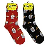 Foozys Women's Crew Socks   Chinese Takeout Food & Drink Novelty Socks   2 Pair
