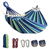 Colel Double Hammock, 2 Person Cotton Canvas Hammock 450lbs Portable Camping Hammock with Carrying Bag Two Anti Roll Balance Beam Metal Carabiner Ropes and Tree Straps for Travel Patio Garden (Blue)