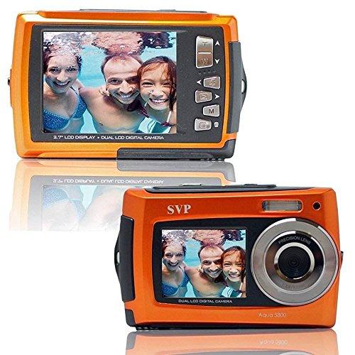 SVP Aqua 5800 Orange (with Micro 32GB) 18 MP Dual Screen Waterproof Digital Camera