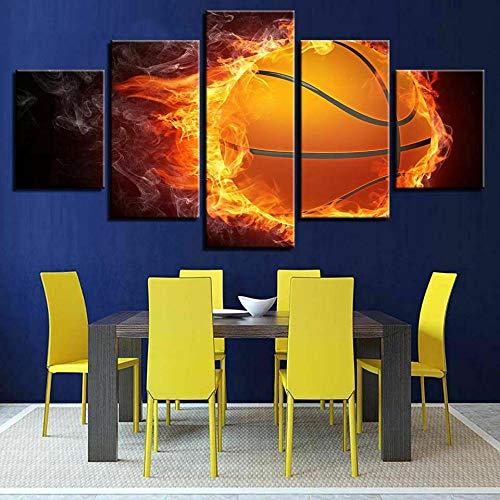 IMXBTQA Cuadro En Lienzo,Imagen Impresión,Pintura Decoración,Cuadro Moderno En Lienzo 5 Piezas XXL,150X80Cm,Baloncesto En Bola De Fuego Murales Pared Hogar Decor