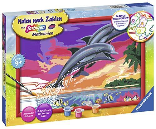 Ravensburger Malen nach Zahlen 28907 - Welt der Delfine - Für Kinder ab 9 Jahren