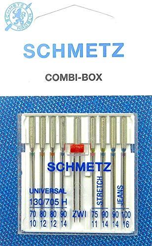 SCHMETZ Nähmaschinenadel-Set Combi-Box mit Zwillingsnadel Universal Jeans und Stretch