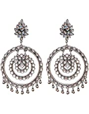 Women's Metal Large Mirror Chandbali Style Earring