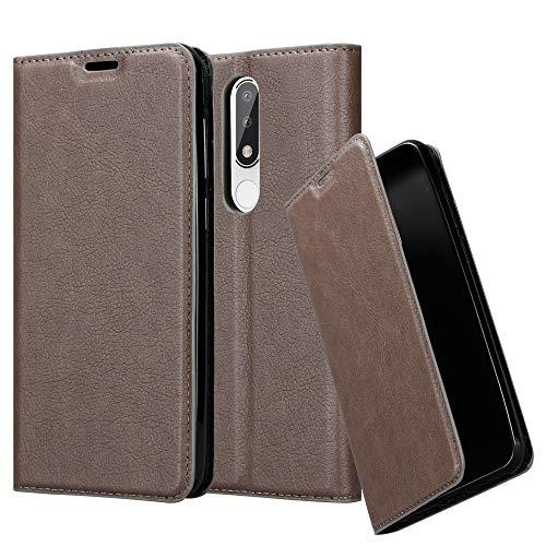 Cadorabo Hülle für Nokia 5.1 Plus in Kaffee BRAUN – Handyhülle mit Magnetverschluss, Standfunktion & Kartenfach – Case Cover Schutzhülle Etui Tasche Book Klapp Style