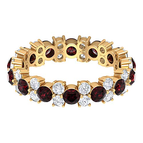 3 CT Garnet and Diamond Wedding Eternity Ring (AAA Quality), 14K Yellow Gold, Size:UK V1/2