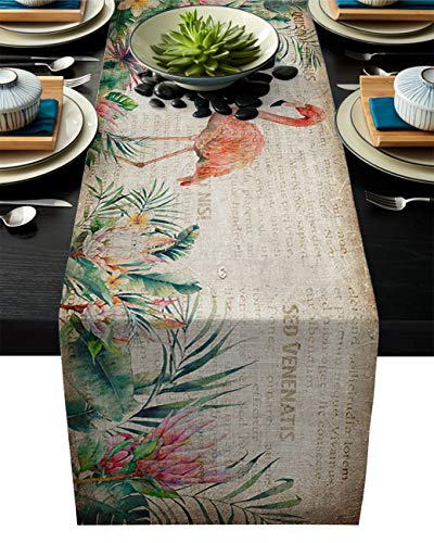 ABCrazy Dining Table Runner 18 x 72inch, Flamingo Protea Flowers Durable Table Covers Decoration for Family Dinner Kitchen Patios Coffee Table Everyday Use Tablecovers Retro Tropical Plant
