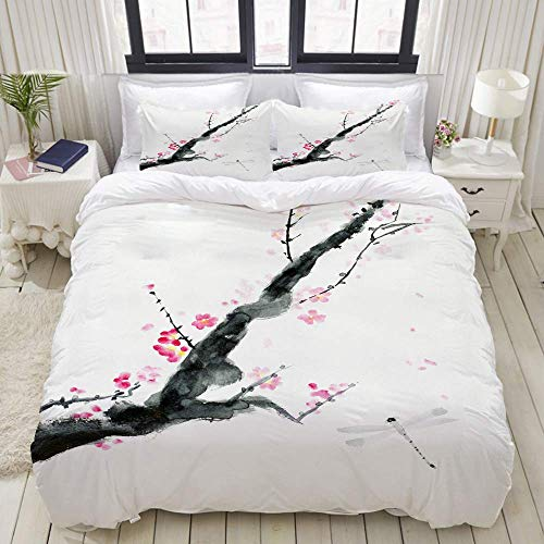 Nonun Duvet Cover,Branch of Cherry Blossoms and a Dragonfly,Bedding Set Ultra Comfy Lightweight Luxury Polyster Quilt Cover Sets (3pcs)