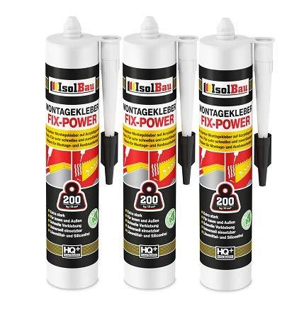Isolbau Montagekleber FIX-POWER Baukleber Sockelleistenkleber Seistenkleber Kartusche Kraftkleber für saugende Materialien, Kleber für innen & außen, 3 x 480g weiß qualität 200kg / 10cm