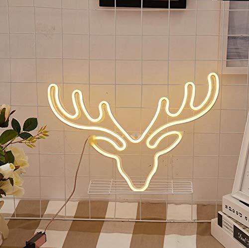 HNHT LED-nachtlampje in Alce, LED-licht plug-in kan worden opgehangen aan de neon, decoratieve tafellamp voor kinderkamer, slaapkamer, Materna Party