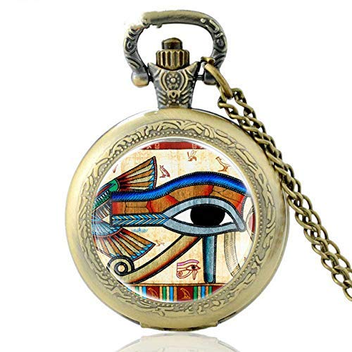 J-Love El Ojo de Horus Reloj de Bolsillo de Cuarzo Bronce Vintage Hombres Mujeres Collar Retro Colgante Regalos Antiguos