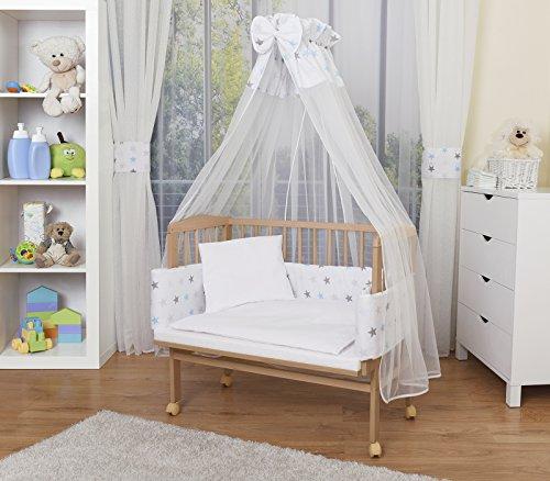 WALDIN Baby Beistellbett mit Matratze und Nestchen, höhen-verstellbar, 16 Modelle wählbar, Buche Massiv-Holz natur unbehandelt,Große Liegefläche 90x55cm,Sterne/rosa