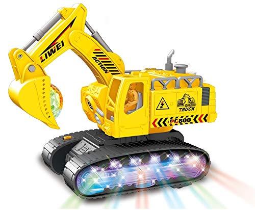Carro trator Escavadeira Com movimentos, Música e Luzes 3d Super Robô