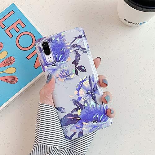 Herbests Kompatibel mit Huawei P20 Hülle Transparent Silikon Blumen Schutzhülle Glitzer Glänzend Bunt Ultra Dünn weiche Silikon Handyhülle Tasche Rückschale Crystal Case,Blau