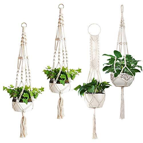 Macrame Plant Hangers, ZOUTOG Set of 4 Indoor Hanging Planter, Handmade Hanging...