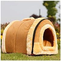 1イグルー猫ベッド洞窟洗えるペットの巣折り畳み式の暖かい犬のハウスで2取り外し可能なクッション付きの居心地の良い寝袋ソファ (Color : B, Size : L(58X45X45CM))