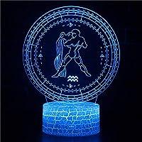 3Dライトランプ水瓶座3Dイリュージョンランプledナイトライトオプティカルイリュージョンライトナイトランプ大人ledライトforキッズガールズボーイズ