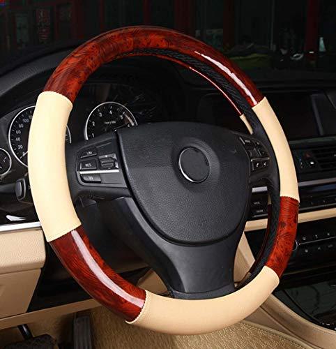 DuoDuoBling Car Wood Grain Steering Wheel Cover for e46 (Beige)
