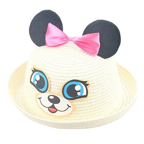 Chapeau de paille bowknot d'été,Ewendy Chapeau de soleil de plage Chapeau respirant pour enfants pour bébé 2-6 ans Fibre De Bambou Matière