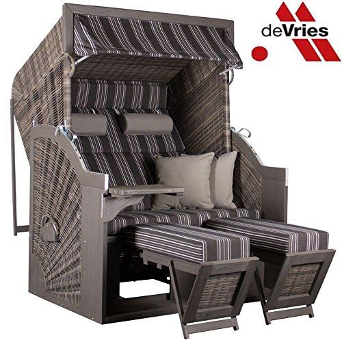 Vries de Beidseitig DURCHGEFLOCHTEN - Devries STRANDKORB Pure Comfort XL KISSENAUSSTATTUNG Grey Dessin 423