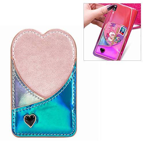 Kickstand beschermende telefoonhoesje voor mobiele telefoon universele laser kleur veranderen liefdevolle hart kaartsleuf & portemonnee & houder & fotolijst (roze), Blauw